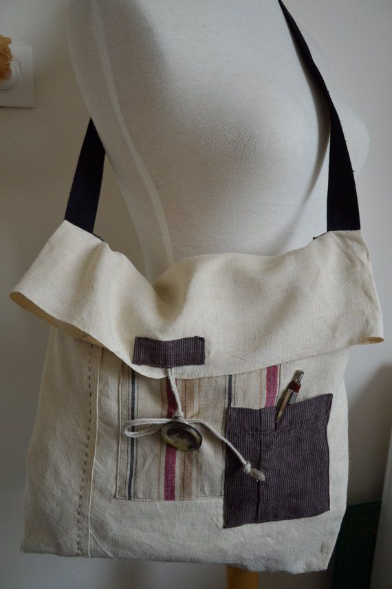 Antic+linen+flap+bag+by+Ruedescoquelicots+on+Etsy,+€39.00