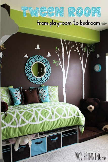 Tween Girl Room. Love the storage under the bed. not sure i like the green, but pink and purple would be cute with the brown