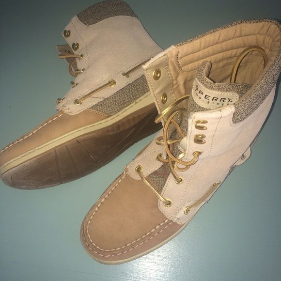 Sperry Topsider High Top Tan Boat Shoes Sperry Topsider High Top Boat Shoes. Two-Toned Tan with Gold Laces! Super cute and have only been worn a couple of times- great condition!! Sperry Top-Sider Shoes Lace Up Boots