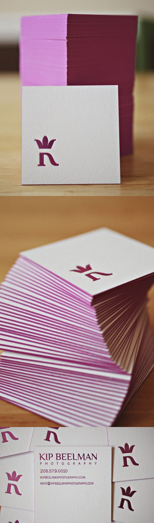 Beautiful Square Letterpress.  Super thick with a deep raspberry pink foil.  #design #inspiration #letterpress