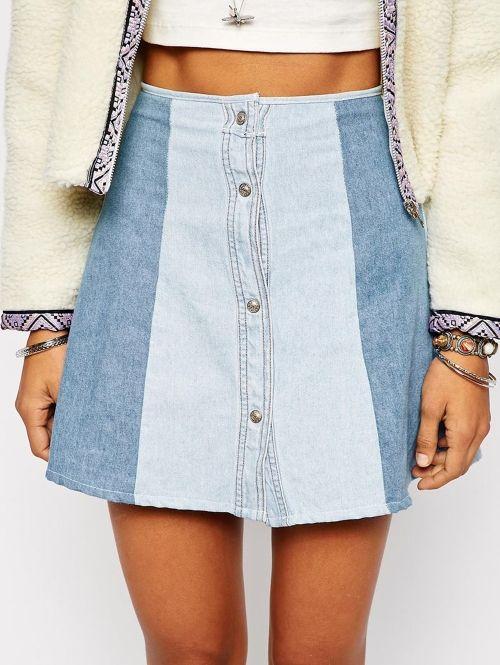 Milk It Patchwork Denim Skirt With Button Front Detail € 40 - verkrijgbaar via Asos| ELLE
