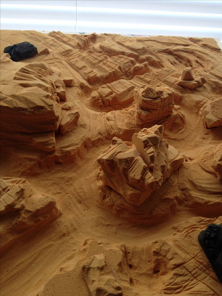 """The groundwork for the canyon terrain of """"A Harmful Spirit"""" is underway. Carving this diorama like scene in balsa foam. The surface detail will include sand, salt, paint and even some good old California dirt."""