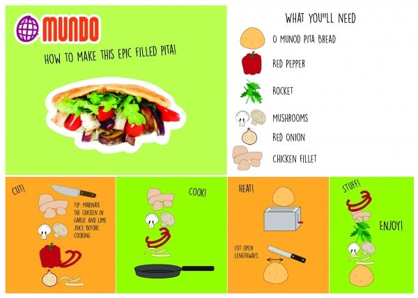 Very tasty pitta recipe, from brand O mundo. With chicken, red bell pepper, rocket, mushrooms and more.