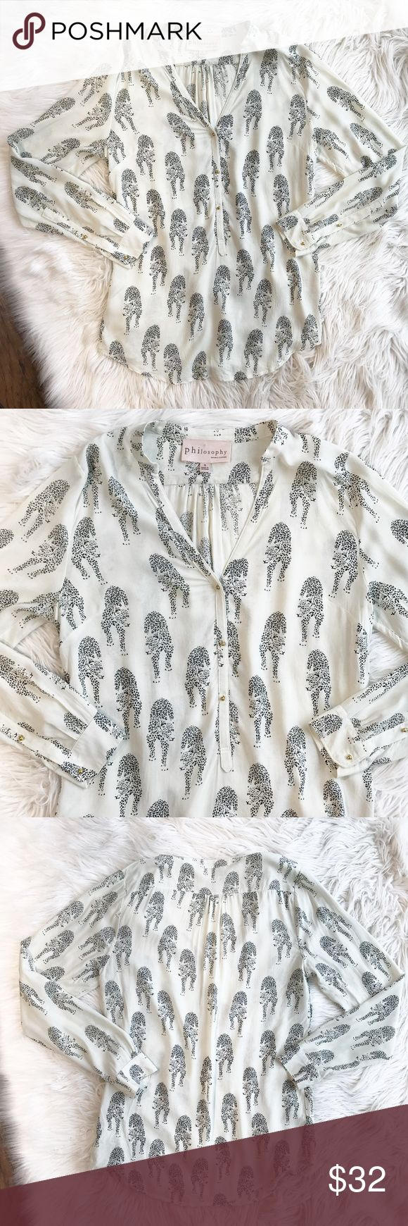 Philosophy Jaguar Print Popover Blouse Philosophy Jaguar Print Popover Blouse in excellent condition. Light weight and semi-sheer material. Size small. No trades, offers welcome. Philosophy Tops Blouses