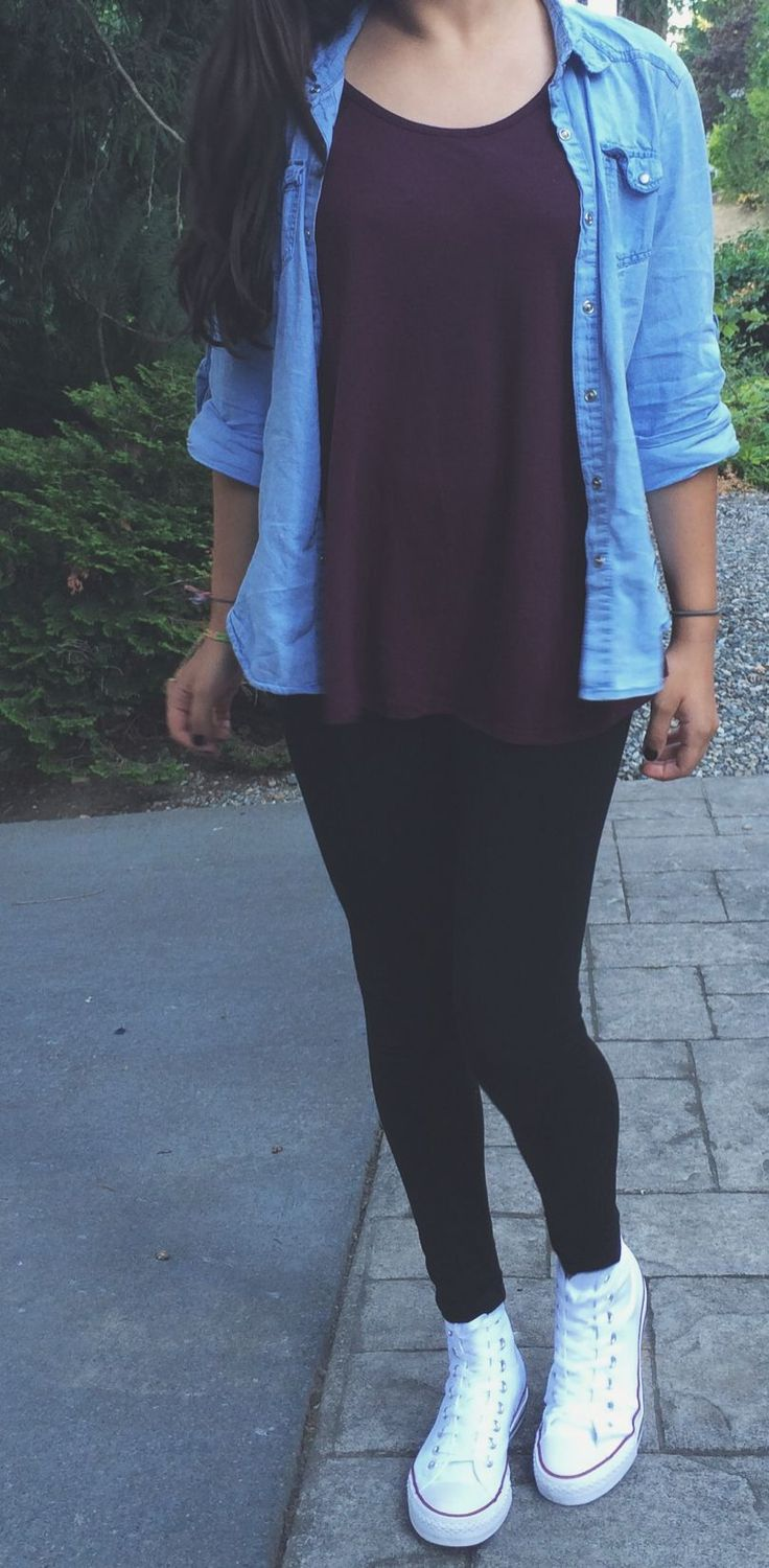 denim top // burgundy t // black leggings // high top white converse
