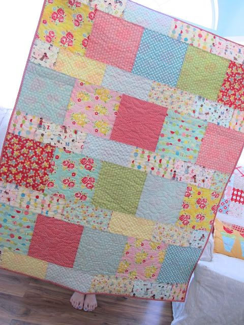 """Kassidy and I sewed up the adorable new free quilt pattern...   Layer Cake Lemonade   by It's Sew Emma   during our """"sew night with K..."""