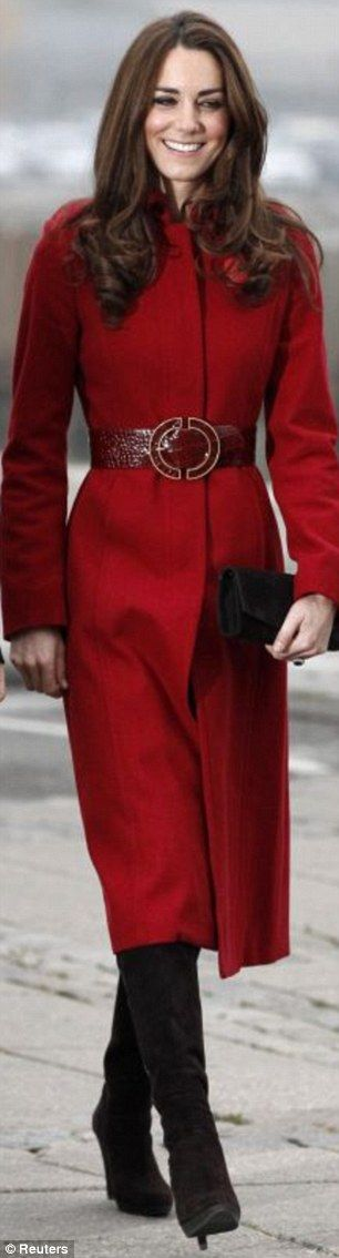 Kate- I love the belted coat in red on her- but she could wear a feed sack & look good I think!