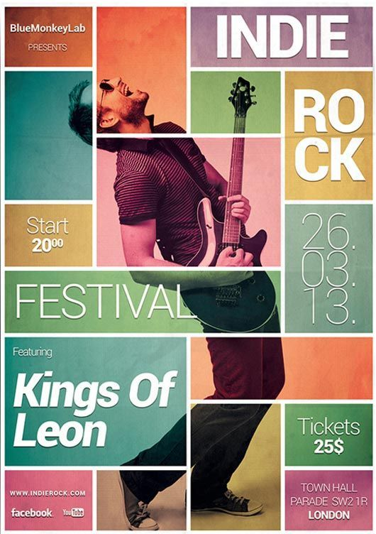 "This is one of the posters I researched for the poster assignment. The blocks are balanced very well. The colors of them also showcase the fun of the concert. The focus of the poster is the pink block in the middle, the eye then goes to ""Kings of Leon."""