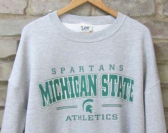 Vintage Michigan State Spartans crew neck sweatshirt heather grey Spartans basketball football college sweatshirt Lee Sports - XL