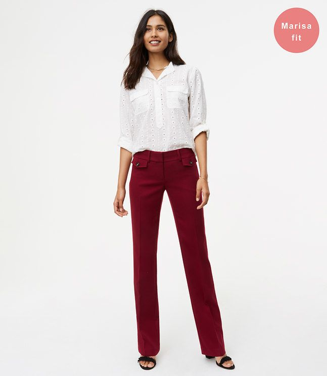 LOFT Petite Trousers with Button Pockets in Marisa Fit
