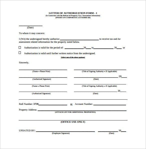 letter authorization form samples examples format for claiming - authorization form template