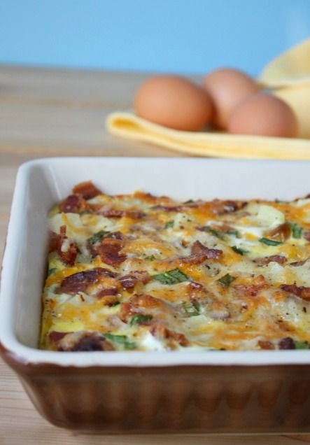Looking for an easy gluten free breakfast casserole then this recipe is for you- filled with potatoes,savory bacon, cheese - yum.