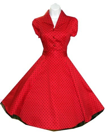 H & R Red Polka dot Swing 50's Housewife pinup Dress Vintage Rockabilly