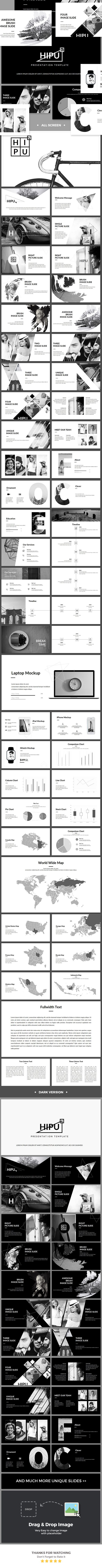 HIPU - Black White PowerPoint Presentation Template