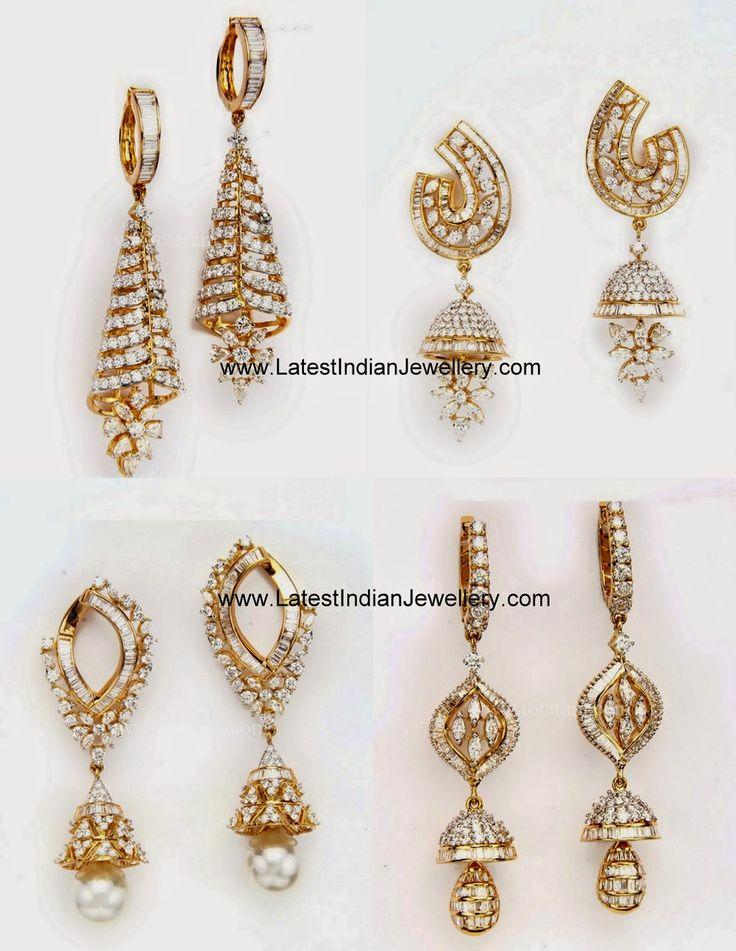 Latest Fancy Diamond Jhumkas