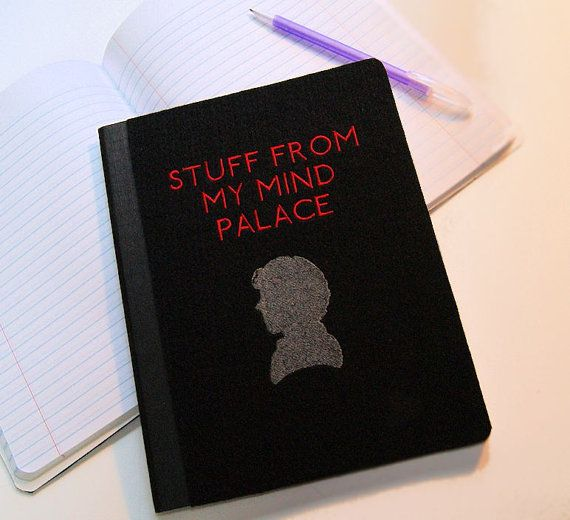 This Blank Composition notebook has an embroidered cover. The design says:  ~Stuff From my Mind Palace~  with a silhouette design that was inspired by