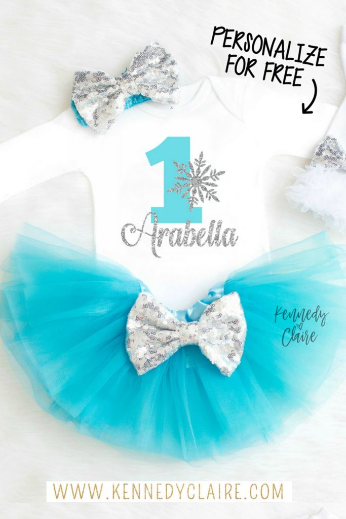 Winter Onederland Outfit in turquoise and silver or winter theme birthday parties! The perfect Frozen Birthday Outfit