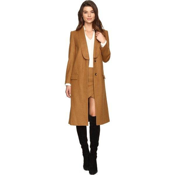 LAVEER Tux Overcoat (Camel) (1.305 RON) ❤ liked on Polyvore featuring outerwear, coats, tan, brown tuxedo, stripe coat, tan camel coat, tan tuxedo and camel lapel coat