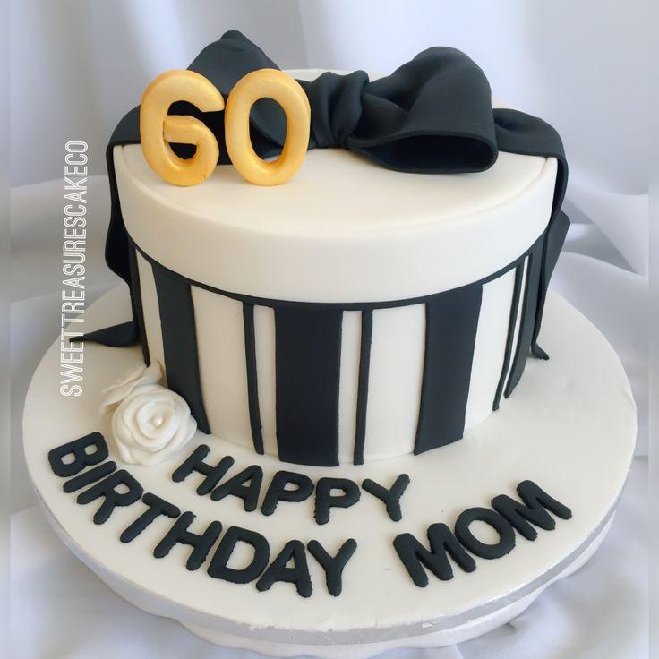 #redvelvet with #cheesecake filling #cake to #celebrate a #60thbirthday for my #customers #mom #blackamdwhite #gold #60 #giftbox #hatbox #sweettreasurescakeco #sweettreasures #johannesburg #joburg #southafrica