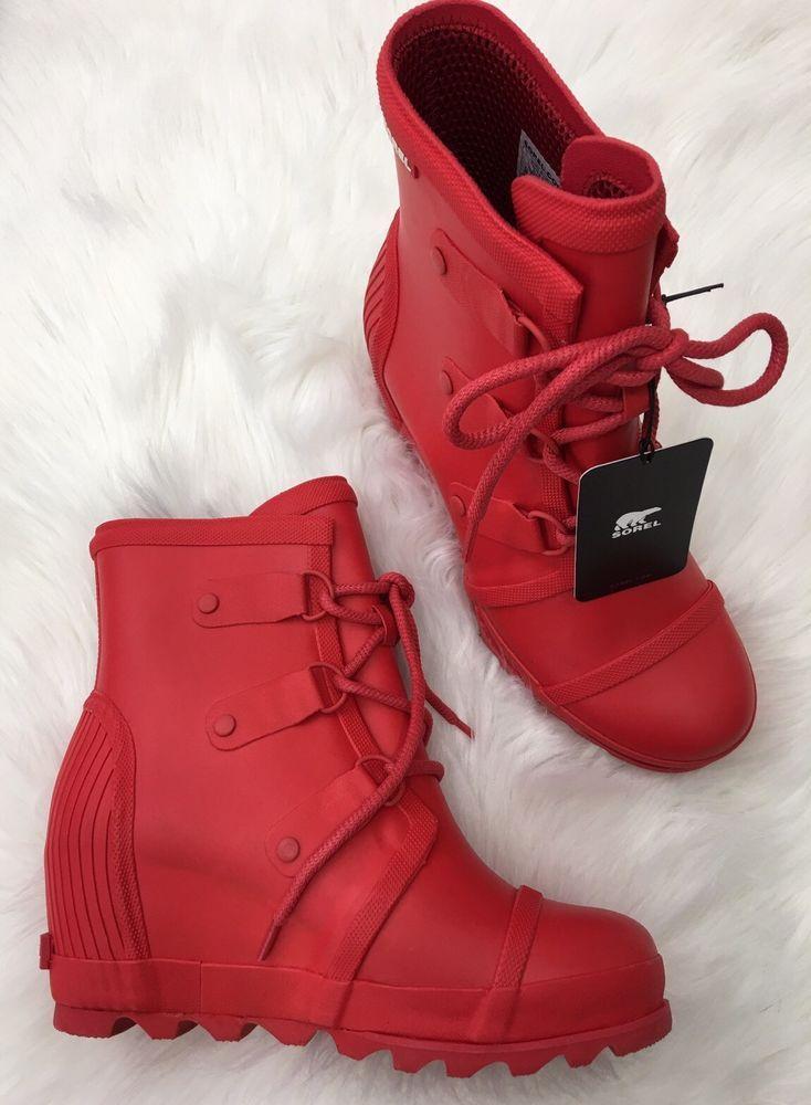 NWT Sorel Joan Wedge Rain Boots Sz 10