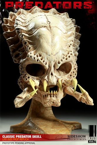 Classic Predator Skull Prop Replica from Predator. It is made by EFX and is approximately 43 cm (16.9 in) high  http://alien-predator.minimodelfilmstuff.co.uk/alien-predator/predator-classic-predator-skull-prop-replica-efx-400048 Sideshow is proud to partner with KNB EFX GROUP to bring you the Predators Collectible line from the 2010 film release. Each prop replica is an exact full-scale reproduction of the original on-screen prop, as created by KNB. Each piece is individually ...