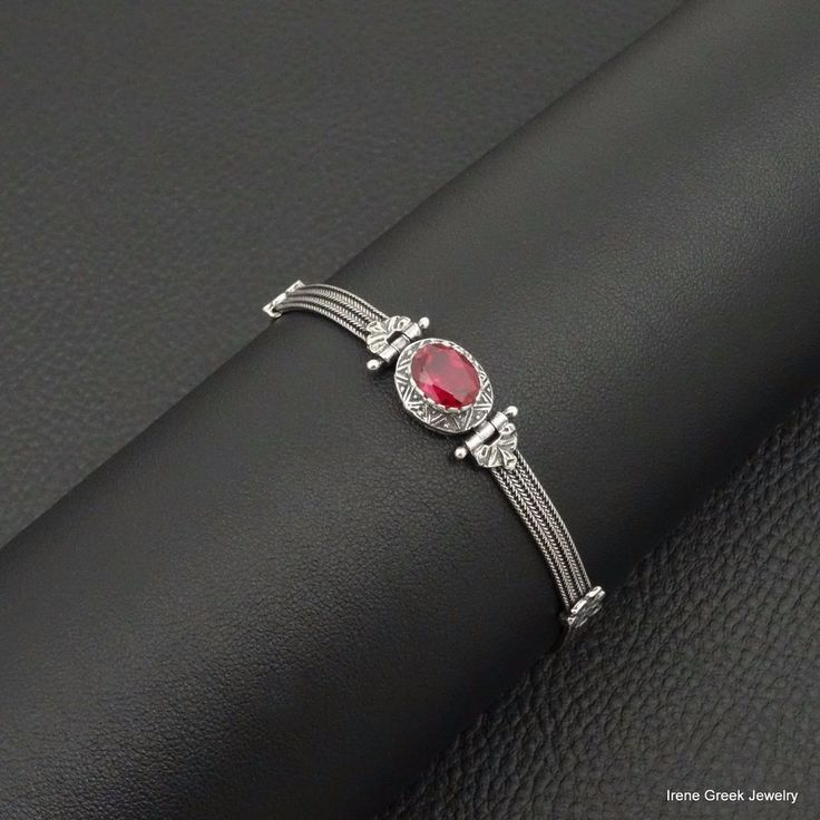 RARE PINK RUBY CZ BYZANTINE STYLE 925 STERLING SILVER GREEK HANDMADE BRACELET #IreneGreekJewelry #Chain