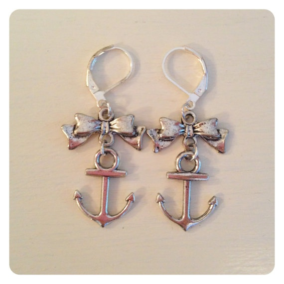 Just added:  Silver Anchor Bow Earrings by catsandwhiskers on Etsy, $15.00