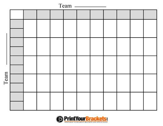 fotball poll sheets | Printable Ncaa Football BCS Squares 50 Grid Office Pool NFL