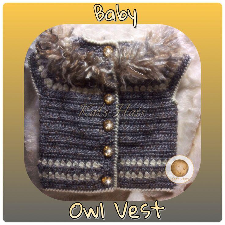 Crochet Baby Owl Vest..original design http://facebook.com/Kats.hats.1