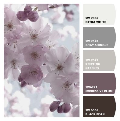 Great color combos smokey shades of gray and plum #sherwinwilliams. Thankyou to soo many people who have saved this pin. ! Bang on trend and fits in to the furniture i have restored in contempary shades.! Keep pinning guys!! ;)