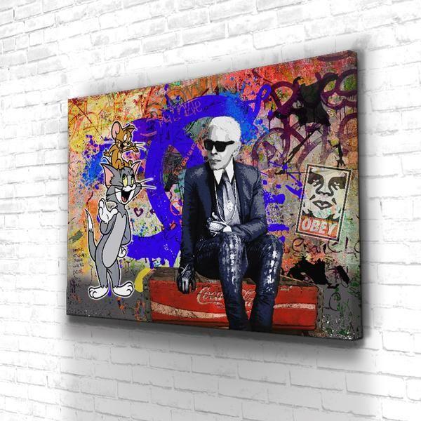 Tableau Karl Fashion Art Artnumerique Canvas Cartoon Deco Decoration Karllagerfeld Mode Art Hippie Illustrations Sur Toile Toiles Peinture Acrylique