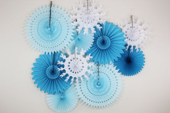 Frozen Birthday Decorations- Tissue Paper Fans, snowflake, light blue, turquoise