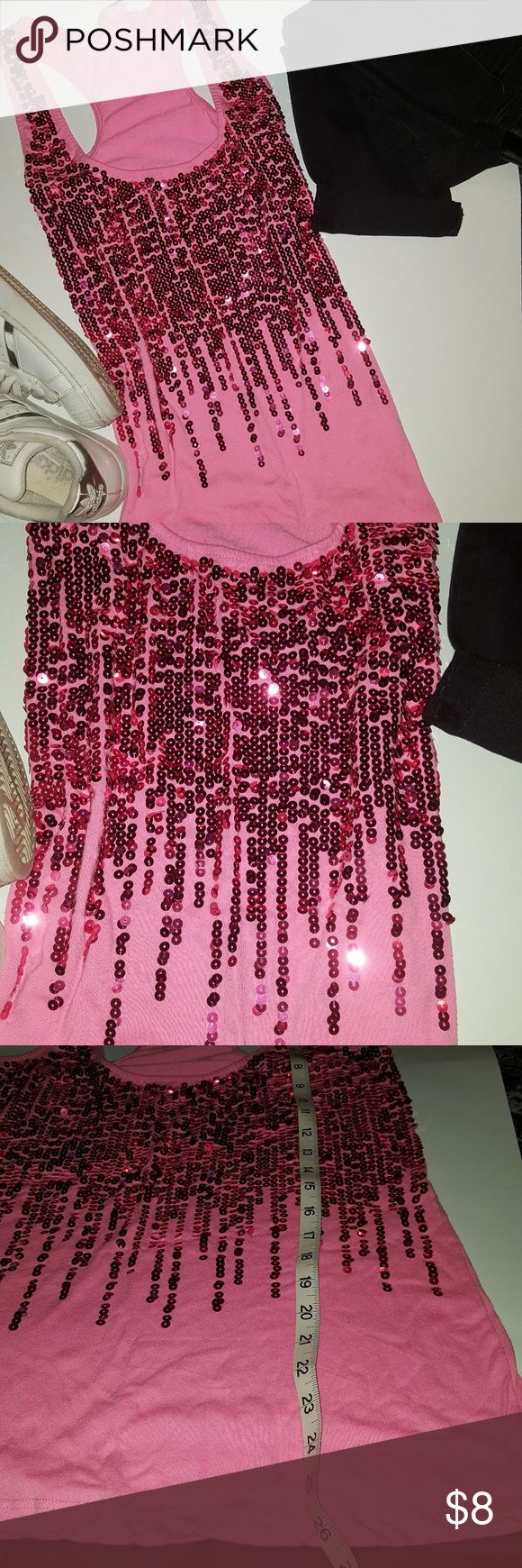 pink sequin tank top pink sequin tank top size 1X  in good condition no stains no holes Tops Tank Tops