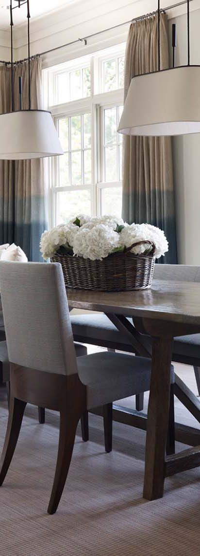 Hickman Associates | Dining Room With Gray & Tan Ombre Curtains