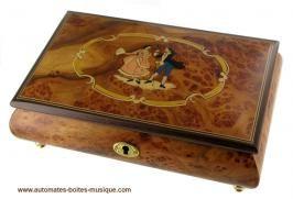 Boîtes à bijoux musicales en bois naturel fabriquées en Italie (18 et 30 lames) Boîte à bijoux musicale en bois naturel : boîte à bijoux musicale avec marqueterie danseurs