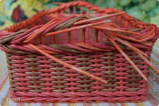 Поделка изделие Плетение Подносики-разносики и др Трубочки бумажные фото 14