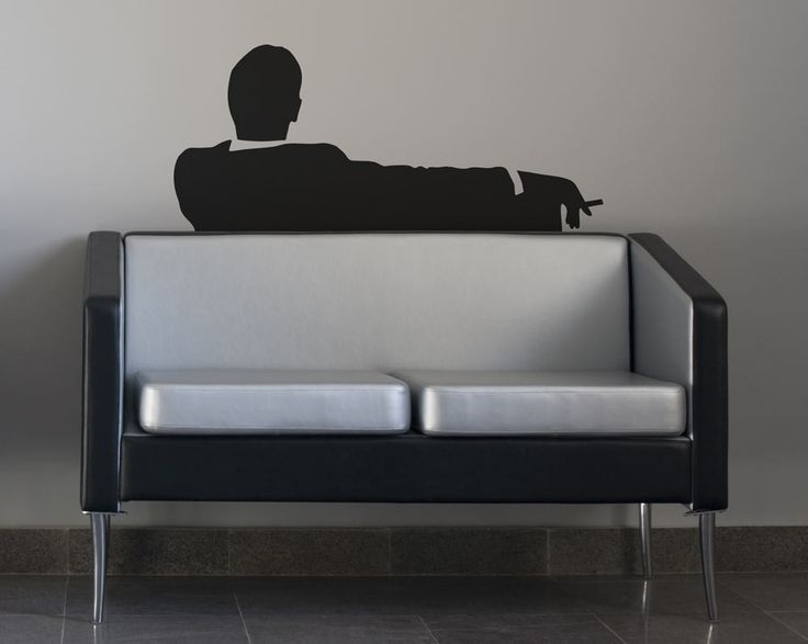 Mad Business Men Sitting On Couch Smoking, Vinyl Wall Art. $19.95, via Etsy.
