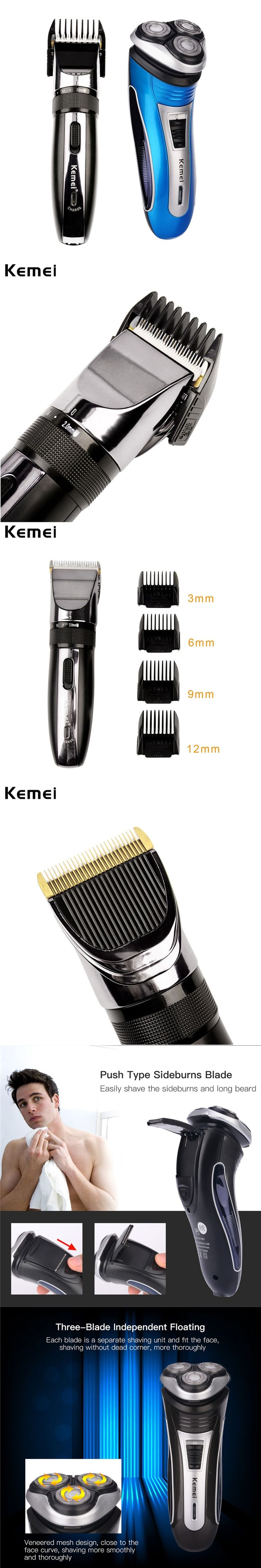 110-240V Kemei Electric Hair Clipper Rechargeable Hair Trimmer Shaver Razor Haircut Beard Trimmer Men Clipper Ceramic Blade