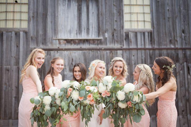 Peach bridesmaids dresses, Floral by Leuk