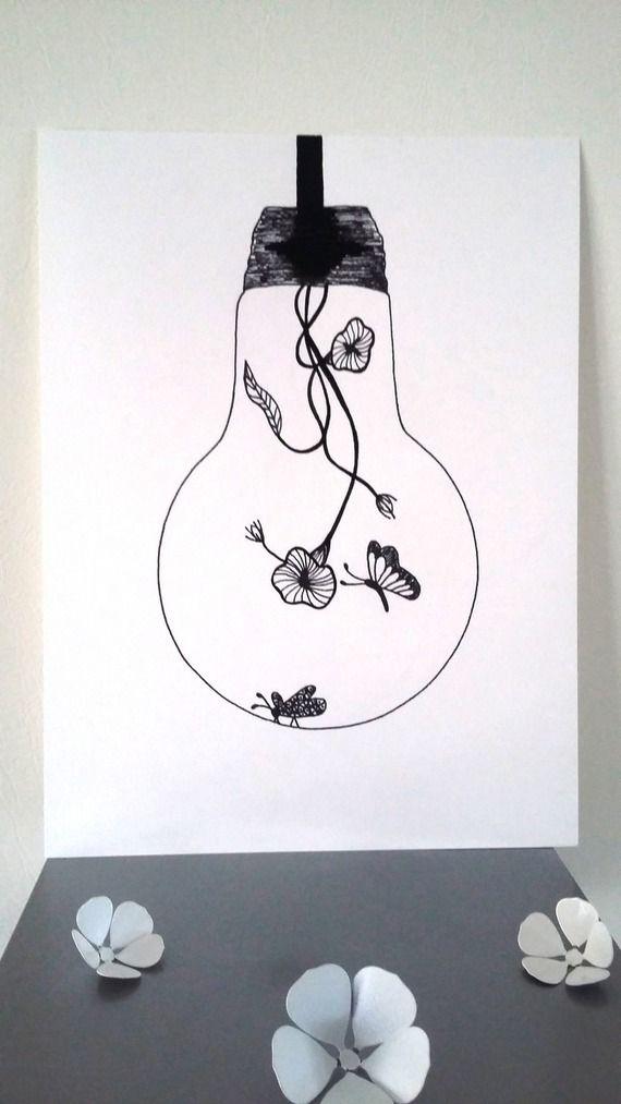 """Affiche Illustration Noir et blanc ampoule """"Douceur d'Intérieur """""""