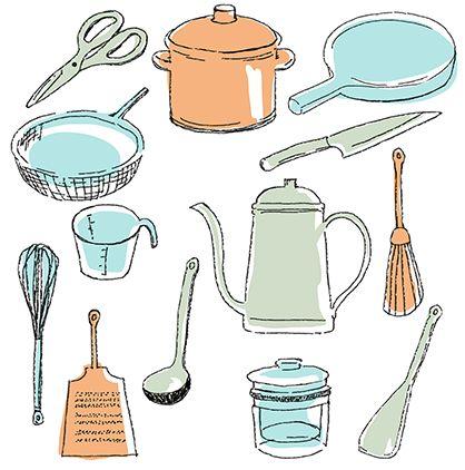 フリー素材追加しました!  手書き風のキッチン用品のイラストです。鍋、フライパン、お玉、へらやざる、おろし金、泡立て器、ポット、キッチンハサミなど 全部で13点あります。透過PNGになっています。