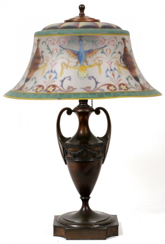 pairpoint+lamps | PAIRPOINT REVERSE PAINTED 'PEACOCK' TABLE LAMP