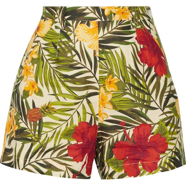 MiguelinaJoone Printed Linen Shorts (1.285 RON) ❤ liked on Polyvore featuring shorts, army green, high waisted shorts, olive green shorts, highwaist shorts, miguelina and colorful shorts
