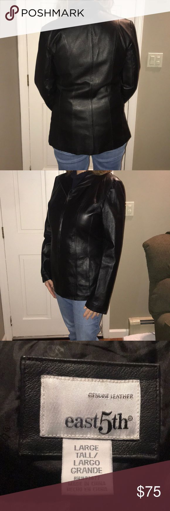 Women's leather jacket Ladies large tall. Black leather jacket. Like new. Zipper front. Model is 5 foot 9 and usually wears a women's medium top. No trades. Jackets & Coats