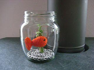 Amigurumi fish in a jar