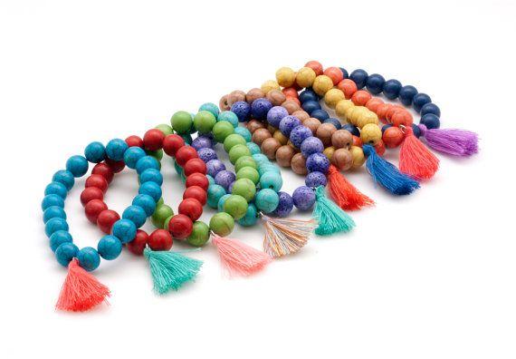 Gemstone Bracelet Mala Bracelet Tassel Boho by PiscesAndFishes