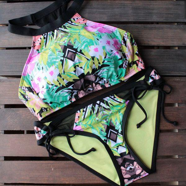 bikini lab - mix & match it takes hue high neck bikini (top only) - shophearts - 1
