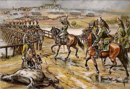 1805, 14 Octubre, Elchingen 19º Regimiento Dragones cruza el puente. Más en www.elgrancapitan.org/foro