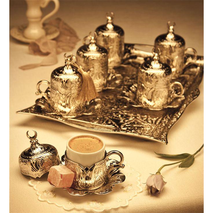 Hediyelik Gümüş Renk Dikdörtgen Tepsili Lalezar Kahve Takımı