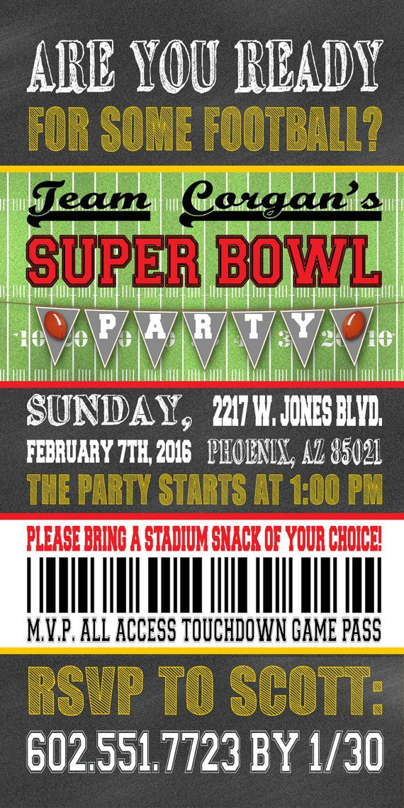 Super Bowl 50 Ticket Football Party Invitation